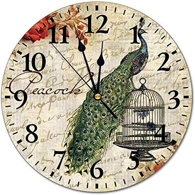 NIUMM Reloj De Pared Reloj De Pared De PVC Números Grandes Fáciles De Leer Ilustración De Jaula De Pavo Real Reloj De Pared Digital Silencioso Decoración