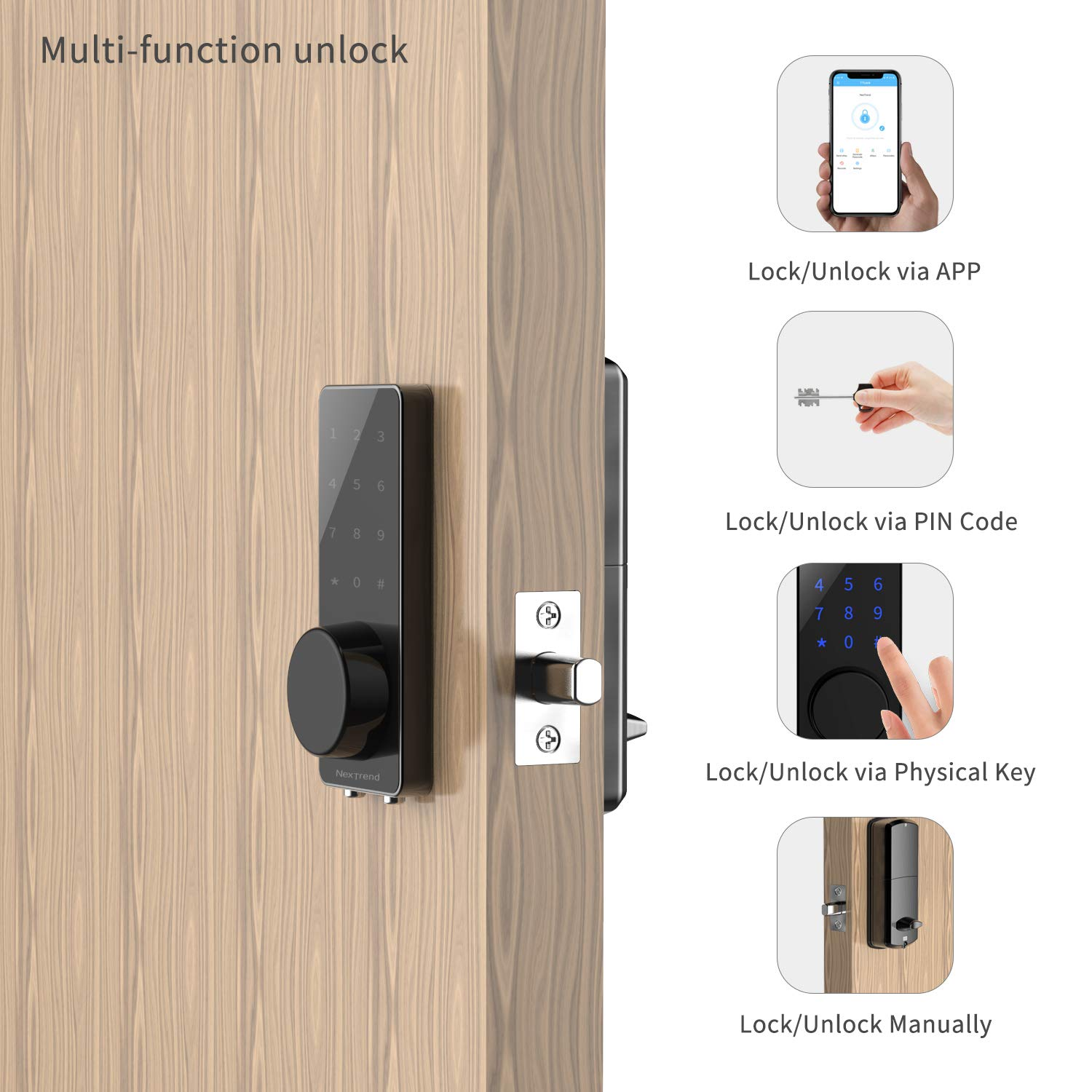 [Newest]Smart Lock, NexTrend Smart Electronic Door Lock with Bluetooth Keyless, Touchscreen, Mechanical Keys Enabled Auto Lock Alarm Technology for Home, Hotel, Apartment, Silver by NexTrend (Image #3)