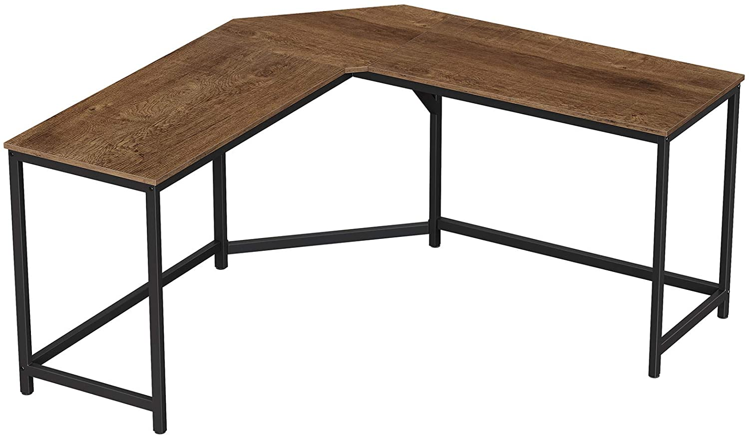VASAGLE Computer Desk, L-Shaped Corner Desk for Home Office, Study Writing Workstation, Industrial Style PC Laptop Table, Gaming Desk, Space-Saving, Easy Assembly, Walnut Brown and Black ULWD073B08