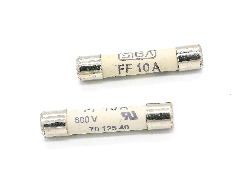 Digital Multi Meter Fuse FF10A 600V Fast Acting Ceramic Fuse 6.3 x 32mm 2 Pack Siba