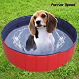 Forever Speed Hundepool Doggy Pool Hunde Pool Swimmingpool Badewanne Pool Planschbecken ø80/120/160cm Rot Umweltfreundliche PVC