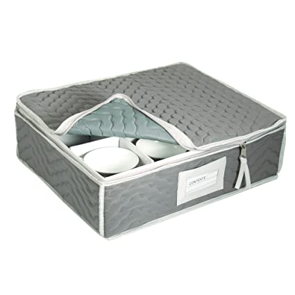 China Cup Storage Chest   Deluxe Quilted Microfiber (Light Gray) (13u0026quot;H