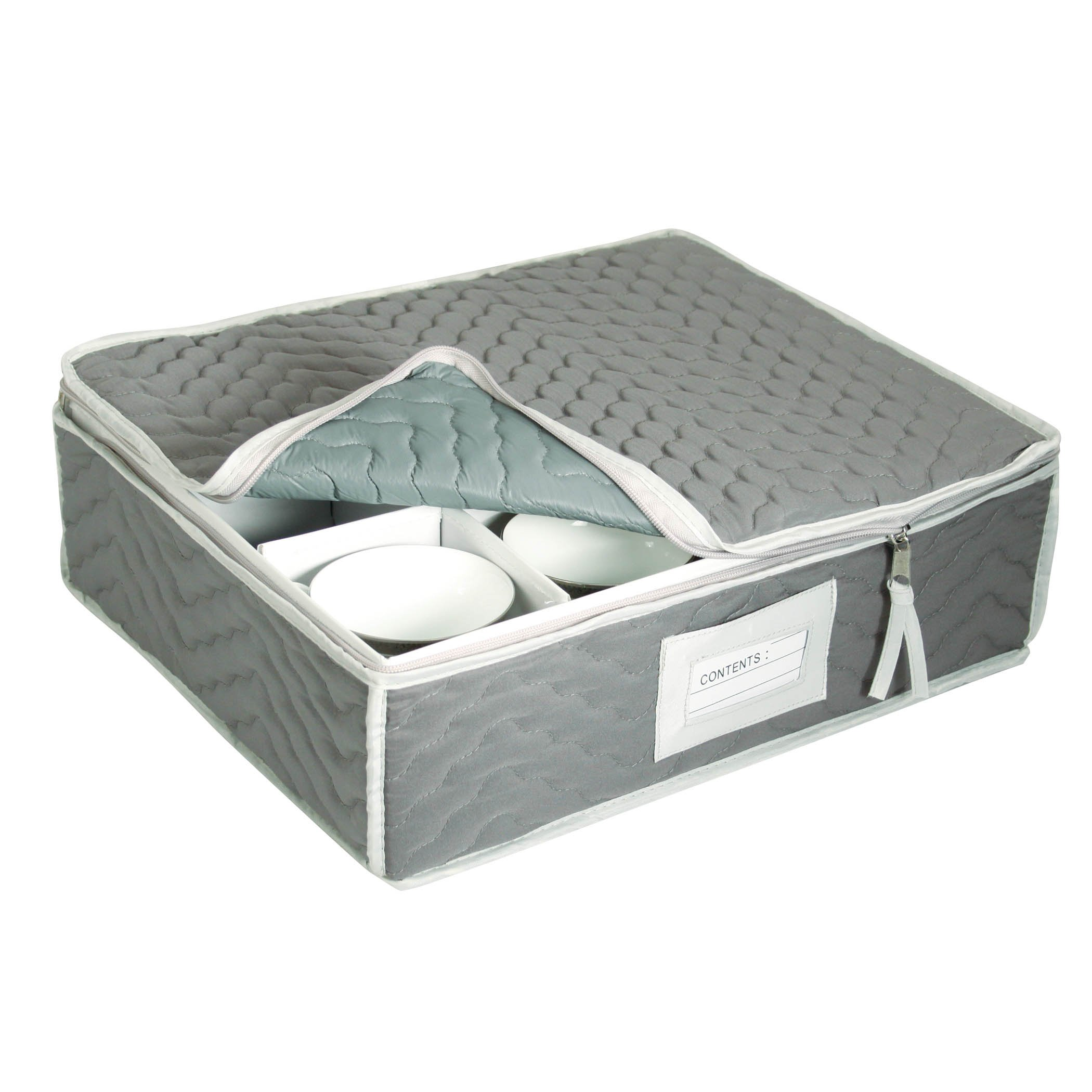 China Cup Storage Chest - Deluxe Quilted Microfiber (Light Gray) (13''H x 15.5''W x 5''D)