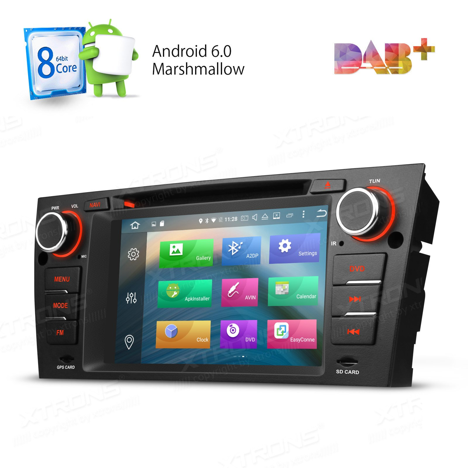 XTRONS Octa-Core 64Bit 2G RAM 32GB ROM 7 Inch HD Capacitive Touch Screen Car Stereo Radio DVD Player GPS CANbus Screen Mirroring Function OBD2 Tire Pressure Monitoring for BMW E90 E91 E92 E93