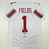 $299 » Autographed/Signed Justin Fields Ohio State White College Football Jersey Beckett BAS COA