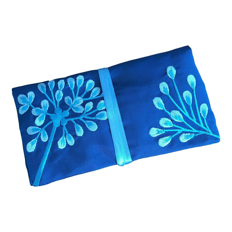 Eco Blue - Busta portagioie da viaggio in seta, commercio equo e solidale, colore: blu zaffiro, con decorazioni Ecoblue
