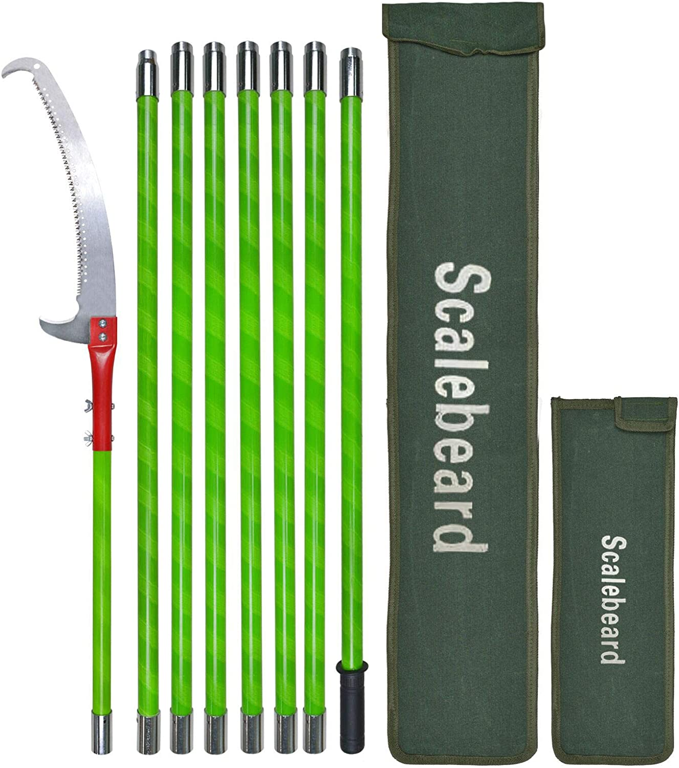 Scalebeard 26 Foot Tree Trimmer Pole Manual Pruner Cutter Set Extension Cut Tree Branch Garden Tools Loppers Hand Pole Saws(B)