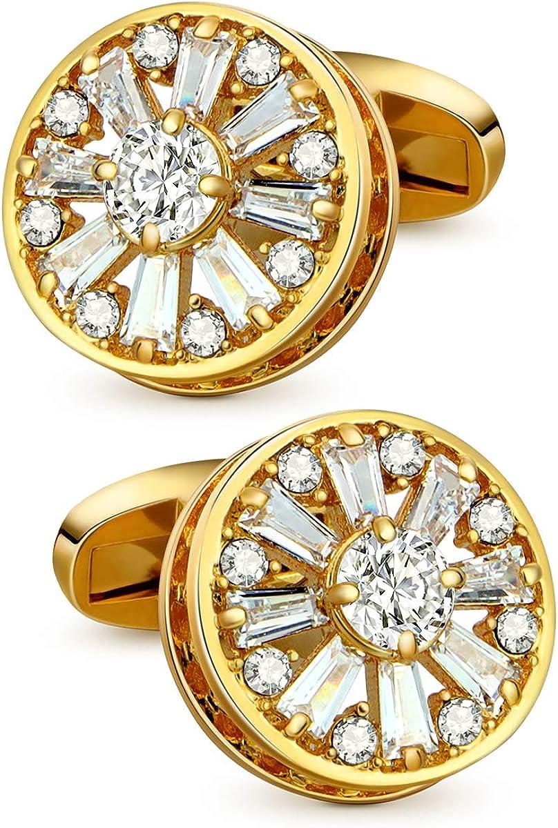 VIILOCK 18K Gold Plating with Super Shiny Crystal Cufflinks for Men Wedding Business Mens Tuxedo Studs