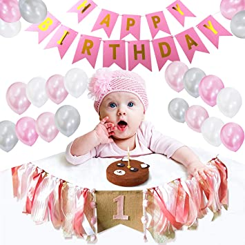 Bebé 1er Cumpleaños Decoraciones Pancartas de una Trona Bebita Banner de Feliz cumpleaños con Globos de Color Rosa, Blanco y Plateado. Mejores Regalos ...