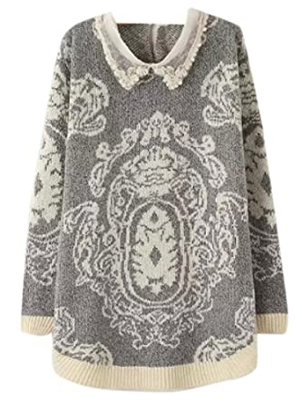 Enlishop Womens Diamond Retro Lapel Pattern Pullover Cable Knit