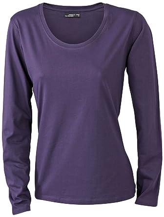 James & Nicholson Damen T-Shirt Langarmshirt Small aubergine