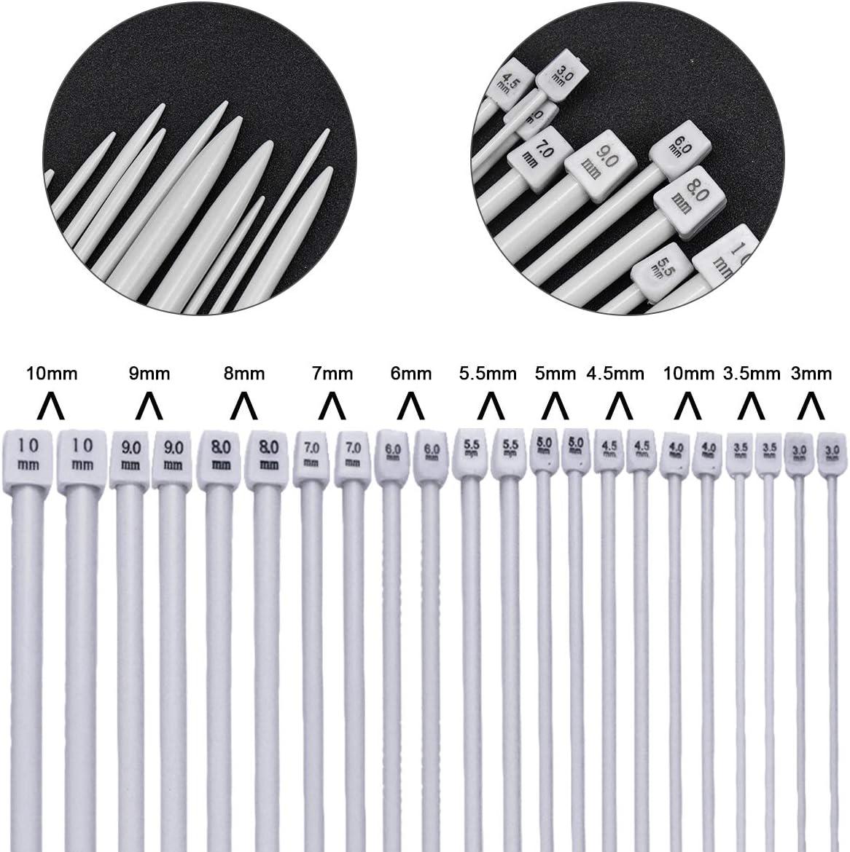 9 pcs Aiguille /à Coudre 1 pcs Ruban /à mesurer Dokpav 35 cm Aiguilles /à Tricoter Trousse 22 Pcs 11 Paire Simples Pointue Aiguilles /à Tricoter + 10 pcs Points de Verrouillage 3.0 mm - 10.0 mm