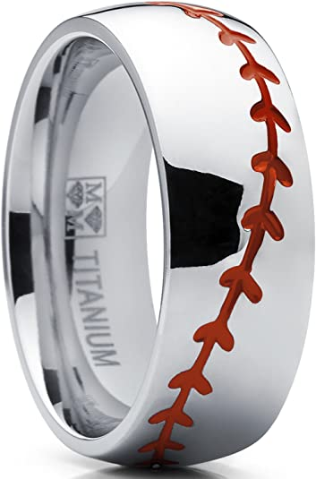 Tungsten Carbide Ring Baseball Sport Ball Stitch Design 8mm Polished Silver Band