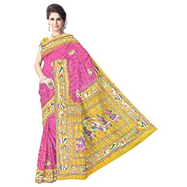23caa109dc943 Kala Sanskruti Women s Golden and Pink Gaji Silk Bandhej Saree  Amazon.in   Clothing   Accessories