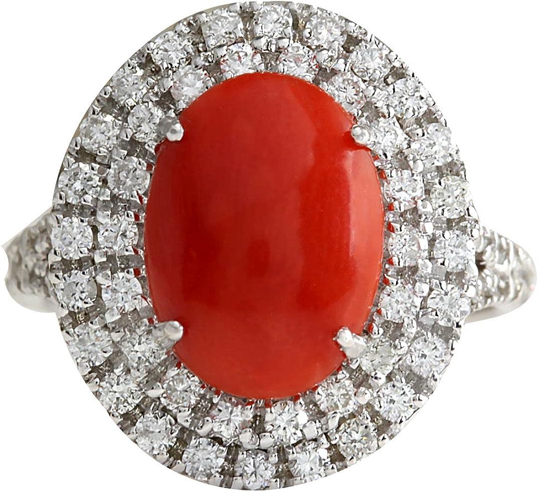 Anillo de cóctel para mujer, oro blanco de 14 quilates, coral rojo natural y diamante, 3,15 quilates