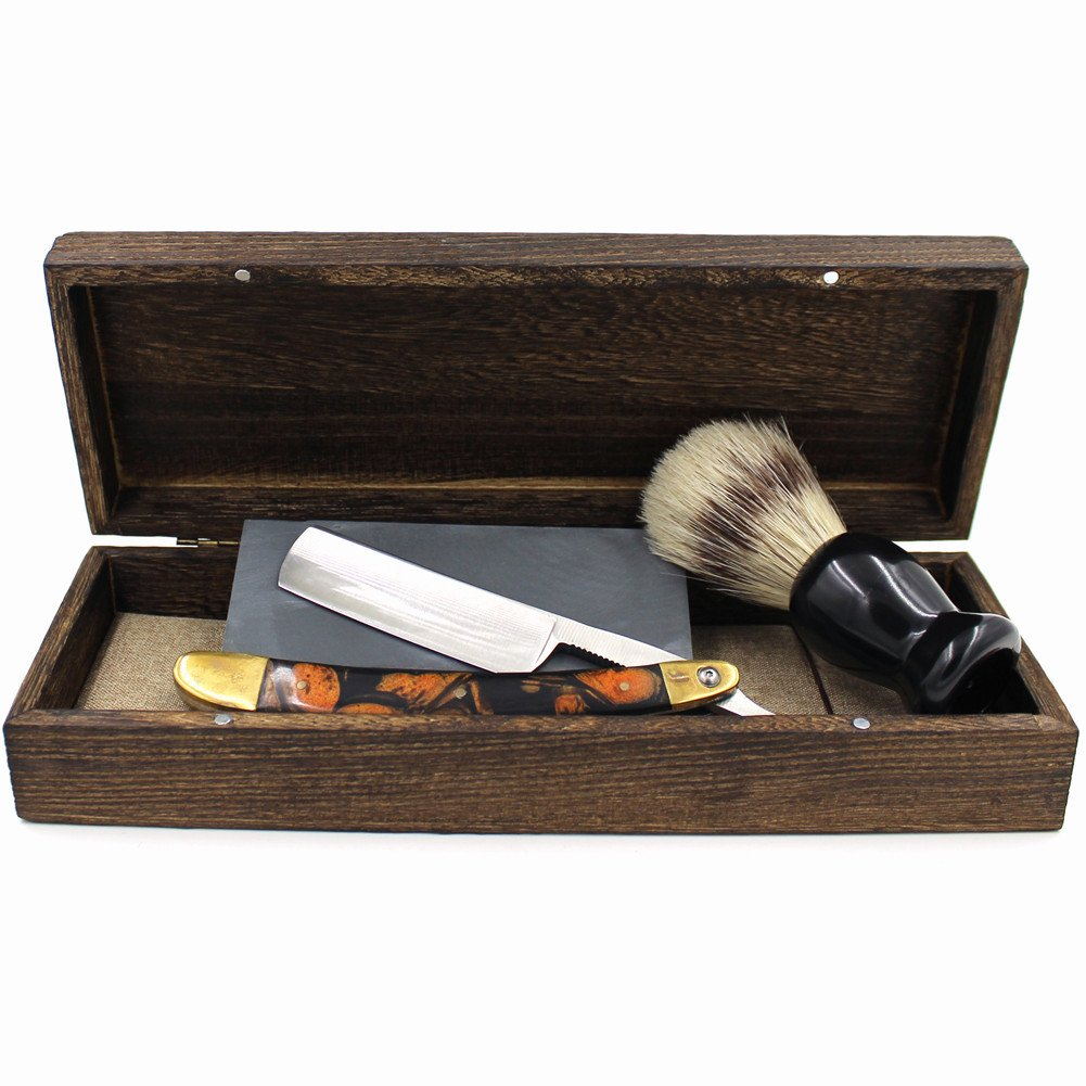 Vintage Cut Throat Straight Razor Black Golden Handle Bristle Shaving Brush Natural Whetstone and Wooden Box Set with Gift Bag