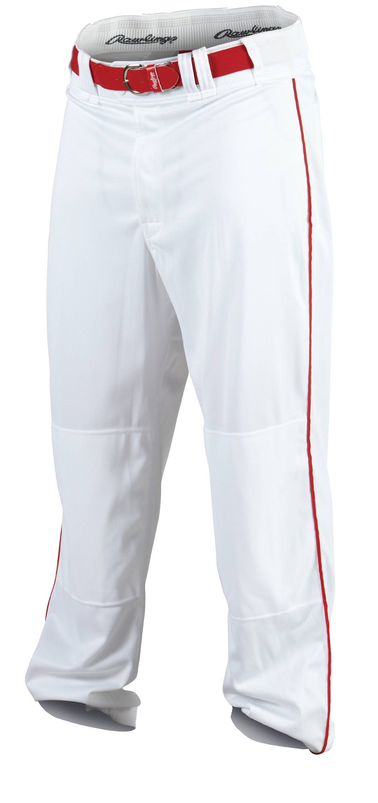 Rawlings Men's Baseball Pant (White/Scarlet, X-Large) by Rawlings
