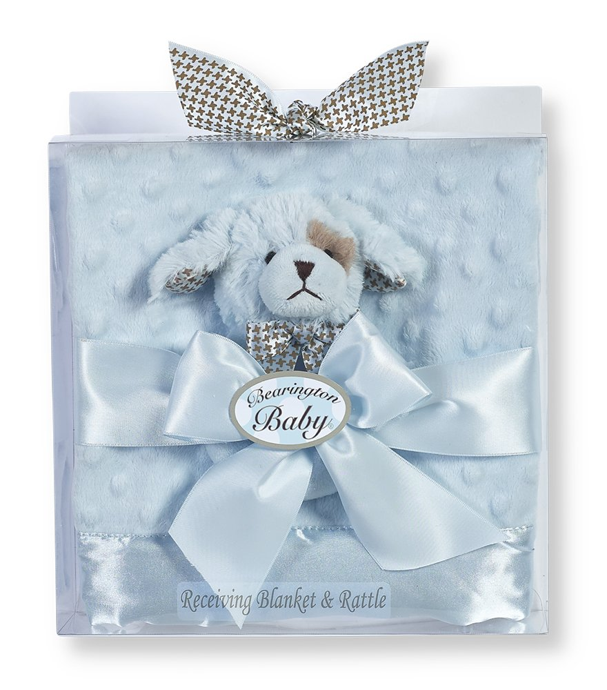 Bearington Baby Shower Gift Set for Boys Includes Lil' Waggles Plush Stuffed Animal Blue Puppy Dog Soft Ring Rattle, 5.5'' & Dottie Snuggle Receiving Blanket (Blue), 28.5'' x 28.5''
