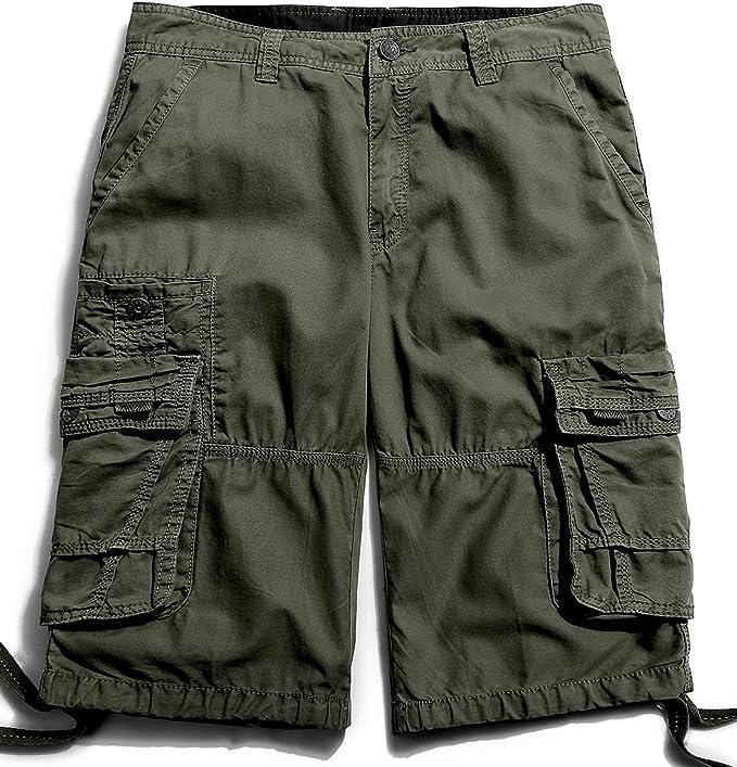 Hajotrawa Mens Flat Front Knee-Length Straight Leg Cotton Casual Shorts Pants