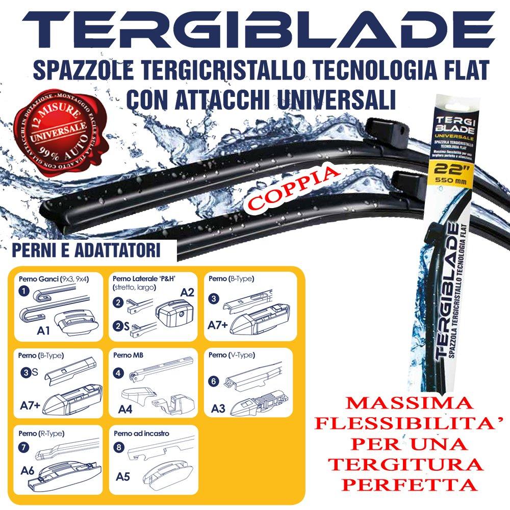 COPPIA SPAZZOLE TERGICRISTALLO A6 AVANT ALLROAD DAL 01-2001 AL 08-2005 ANTERIORE IN GOMMA