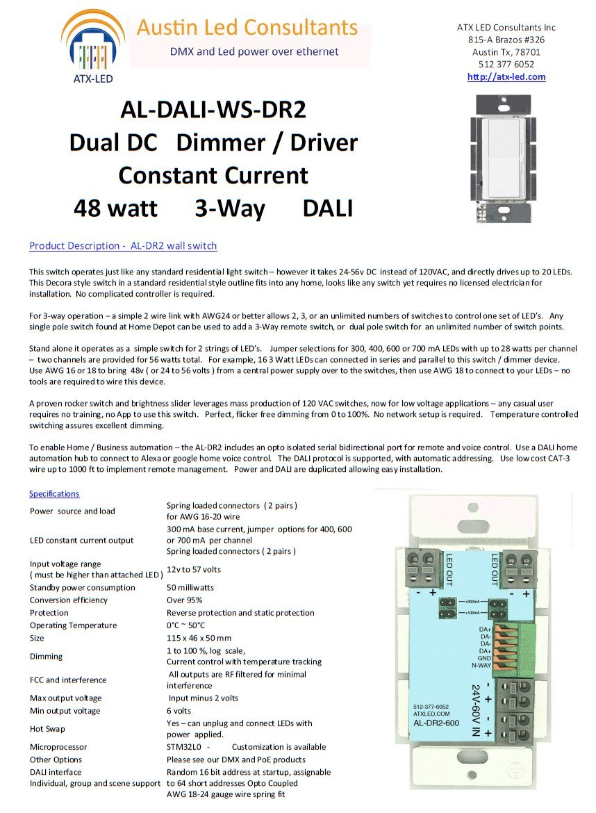 Dimmer Switch Combo Led Driver For 50 Watts Powered 3 Way Flickering From 48 Volts With Dali Interface Al Dr2 Dual 300 400
