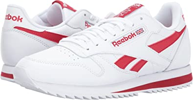 491a71953173b6 Reebok Lifestyle Men s Classic Leather Ripple Low BP White Excellent Red  3.5 ...