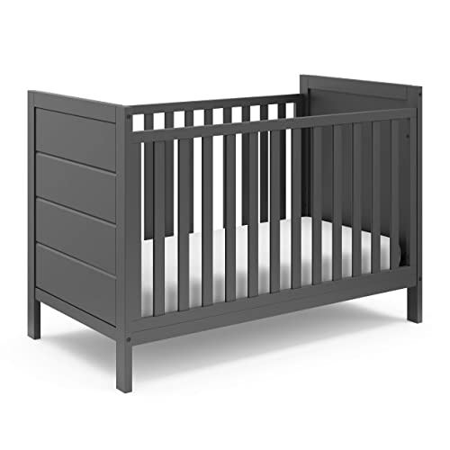 Storkcraft Nestling 3-in-1 Convertible Crib Gray Easily Converts to Toddler Bed and Daybed