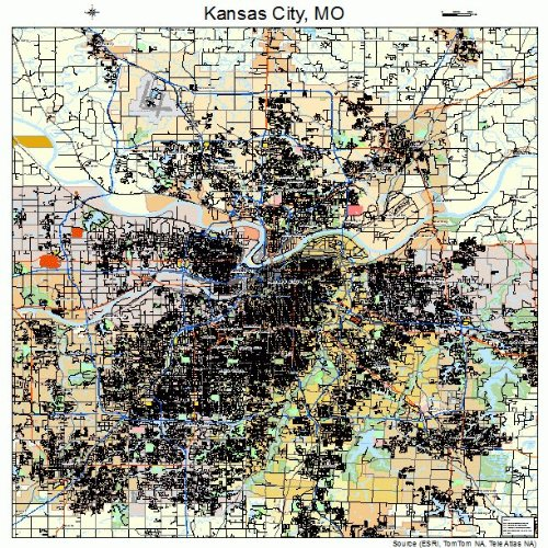 Large Street & Road Map of Kansas City, Missouri MO - Printed poster size wall atlas of your home - City Kansas Legends Map