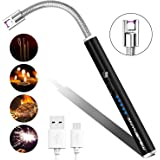 Candle Lighter, Anynepew Electric Arc Lighter with LED Battery Display Safety Switch, USB Rechargeable Lighter w/Longer Flexible Neck for Camping BBQ Stove Cooking Fireworks