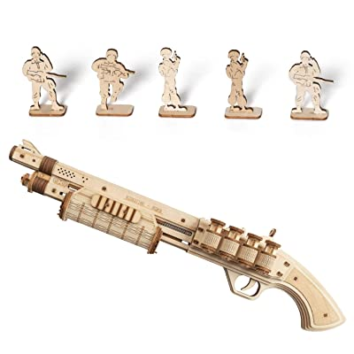 ROKR Wooden Toy Gun Rubber Band Gun 3D Wooden Puzzle (Terminator M870): Toys & Games