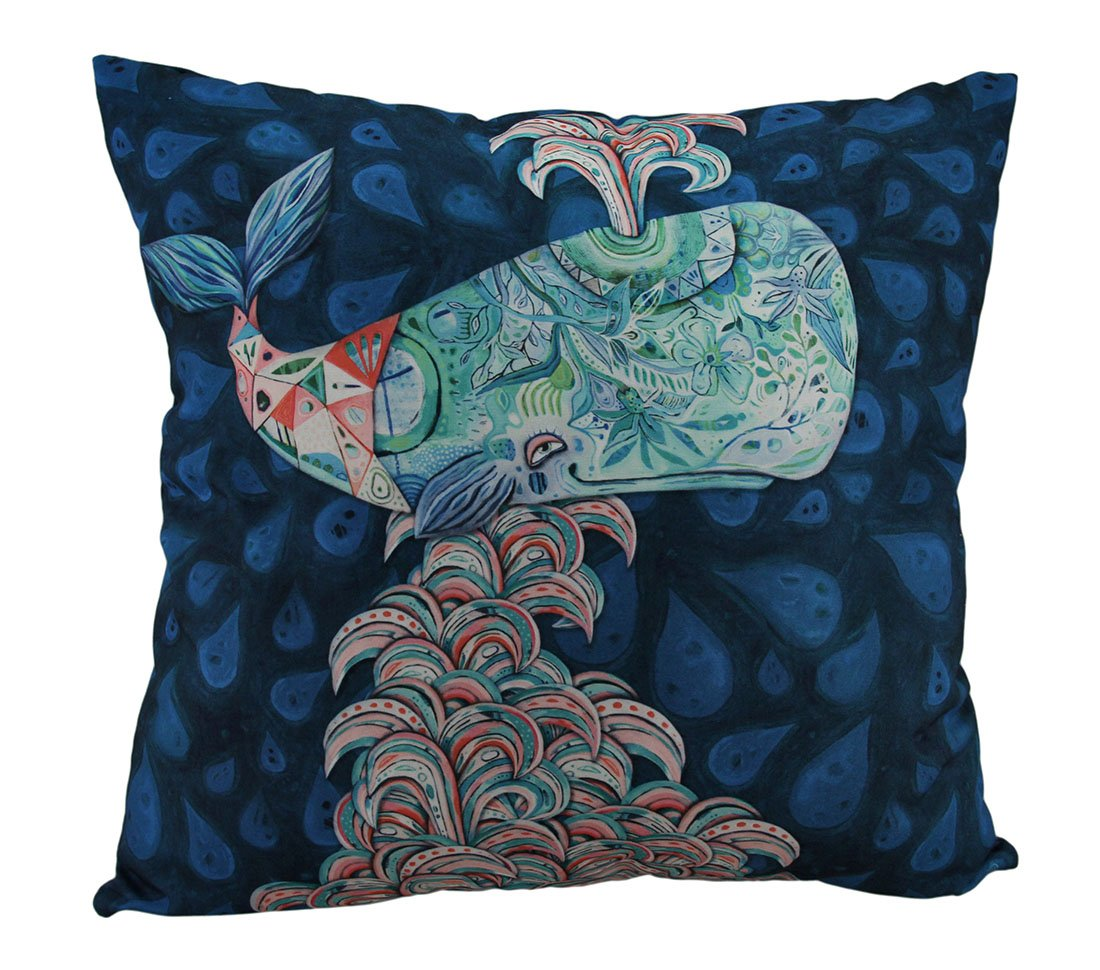 Allen Designs Whimsy the Spouting Whale Decorative Throw Pillow 17 Inch