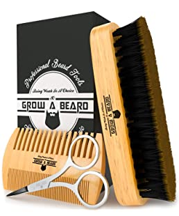 Beard Brush & Comb Set for Men's Care | Christmas Giveaway Mustache Scissors | Gift Box & Travel Bag | Best Bamboo Grooming Kit to Distribute Balm or Oil for Growth & Styling | Adds Shine & Softness