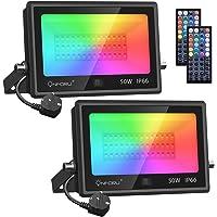 Onforu 2 Pack 50W Foco RGB Led, IP66 Impermeable Foco Proyector LED con 44 Teclas Control Remoto, 20 Colores y 6 Modos…