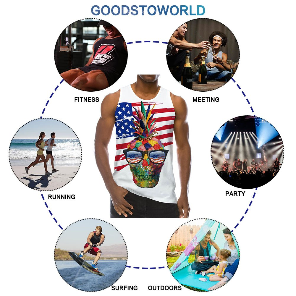 Goodstoworld Summer 3D Funny American Flag Digital Printed Sleeveless Tees Cool Tank Tops for Men