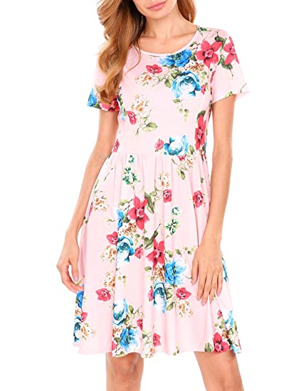 cc75df2067 Meaneor Women Casual Short Sleeve Floral Print Fit and Flare Dress ...