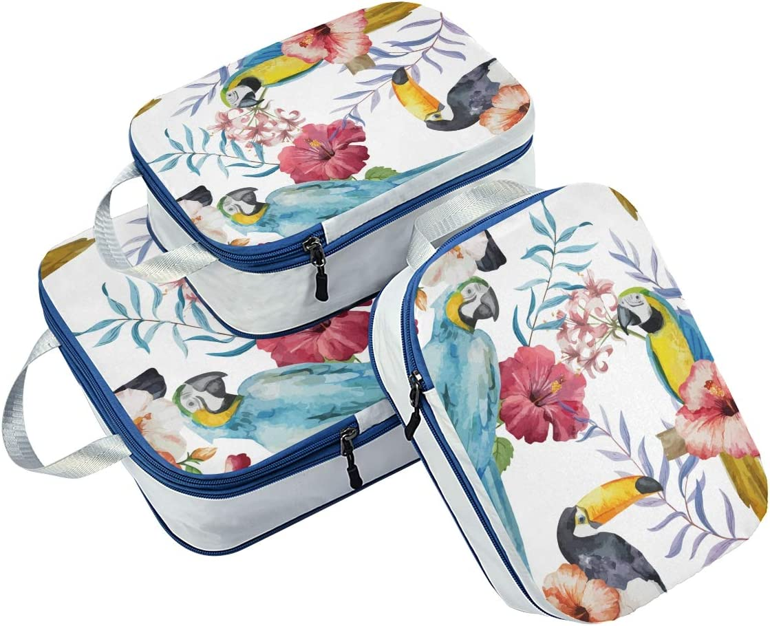 Flowers Parrot 3 Set Packing Cubes,2 Various Sizes Travel Luggage Packing Organizers i