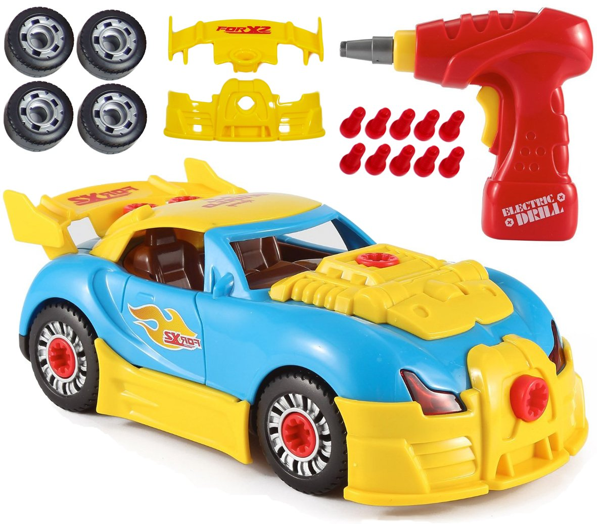 CoolToys Custom Take-A-Part Car Playset – Sports Car with Electric Play Drill and 30 Car Modification Pieces – Motion Activated Lights and Sounds by CoolToys (Image #1)