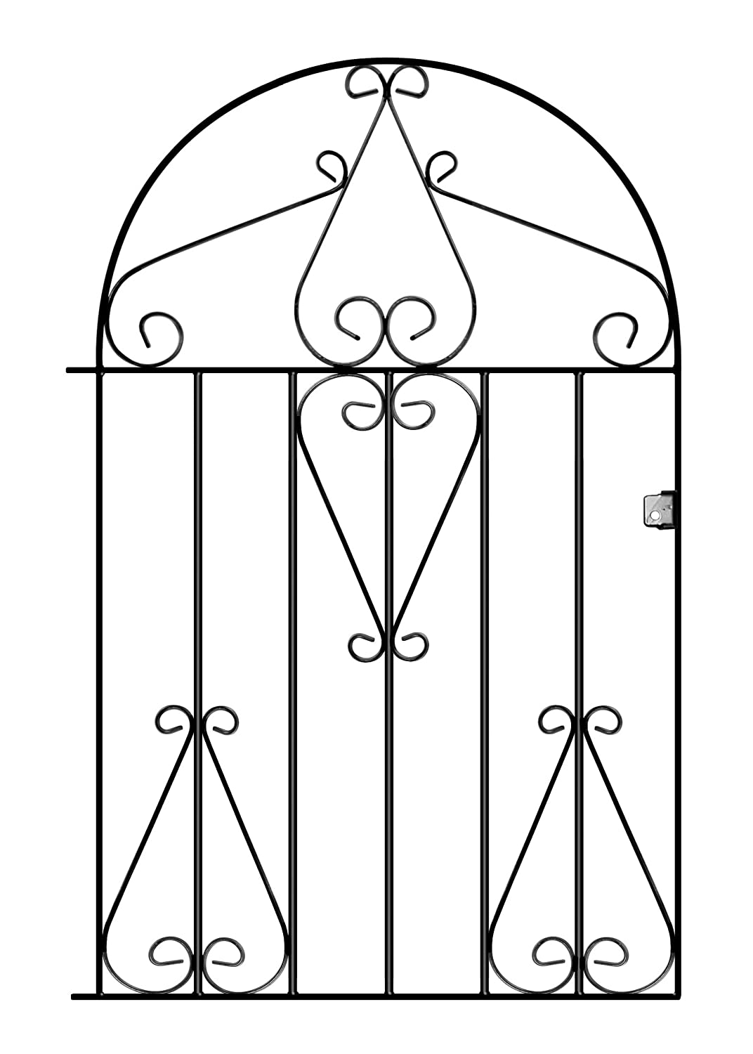 Classic Low Bow Top Scroll Garden Gates 838mm GAP X 1181mm High wrought iron style metal swing gate CLB51