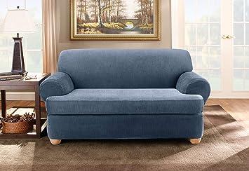 Amazon.com: Sure Fit Stretch Stripe - Funda para sofá (2 ...