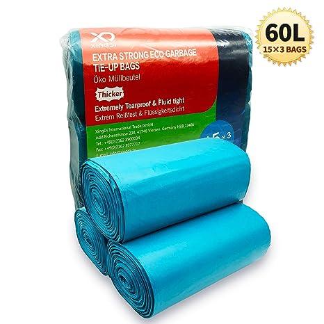 Bolsas de basura ecológicas de 60 litros, bolsas de basura de 23 μ, resistentes y resistentes para el hogar, oficina, negocios, material HDPE de 100 × ...