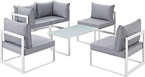 Modway Fortuna 6-Piece Aluminum Outdoor Patio Sectional Sofa Set