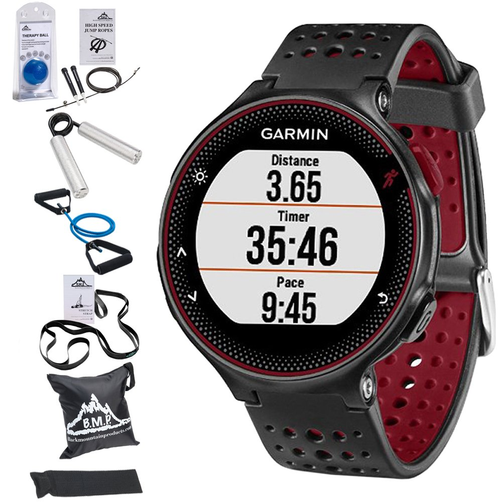 Garmin Forerunner 235 GPS Sport Watch with Wrist-Based Heart Rate Monitor and 7-Piece Fitness Kit (Marsala)