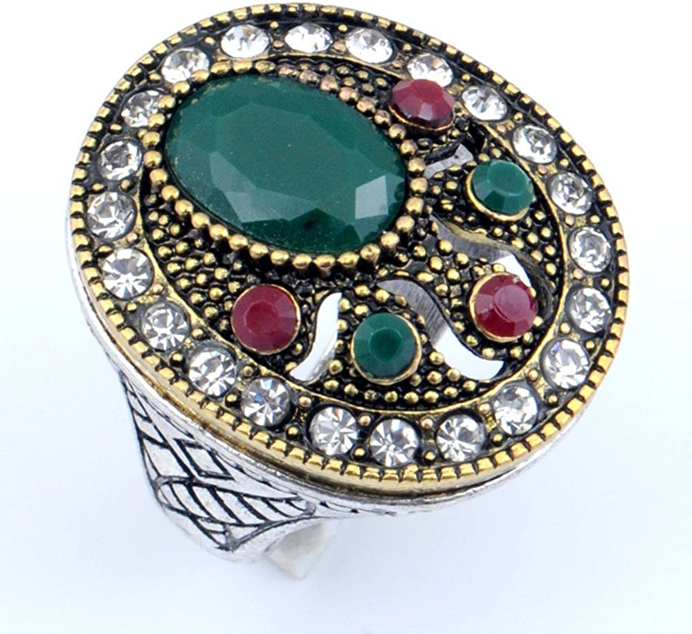 Turkish Style Exotic Handmade Dyed Ruby /& Emerald Silver Plated-Brass Ring Size 9 US