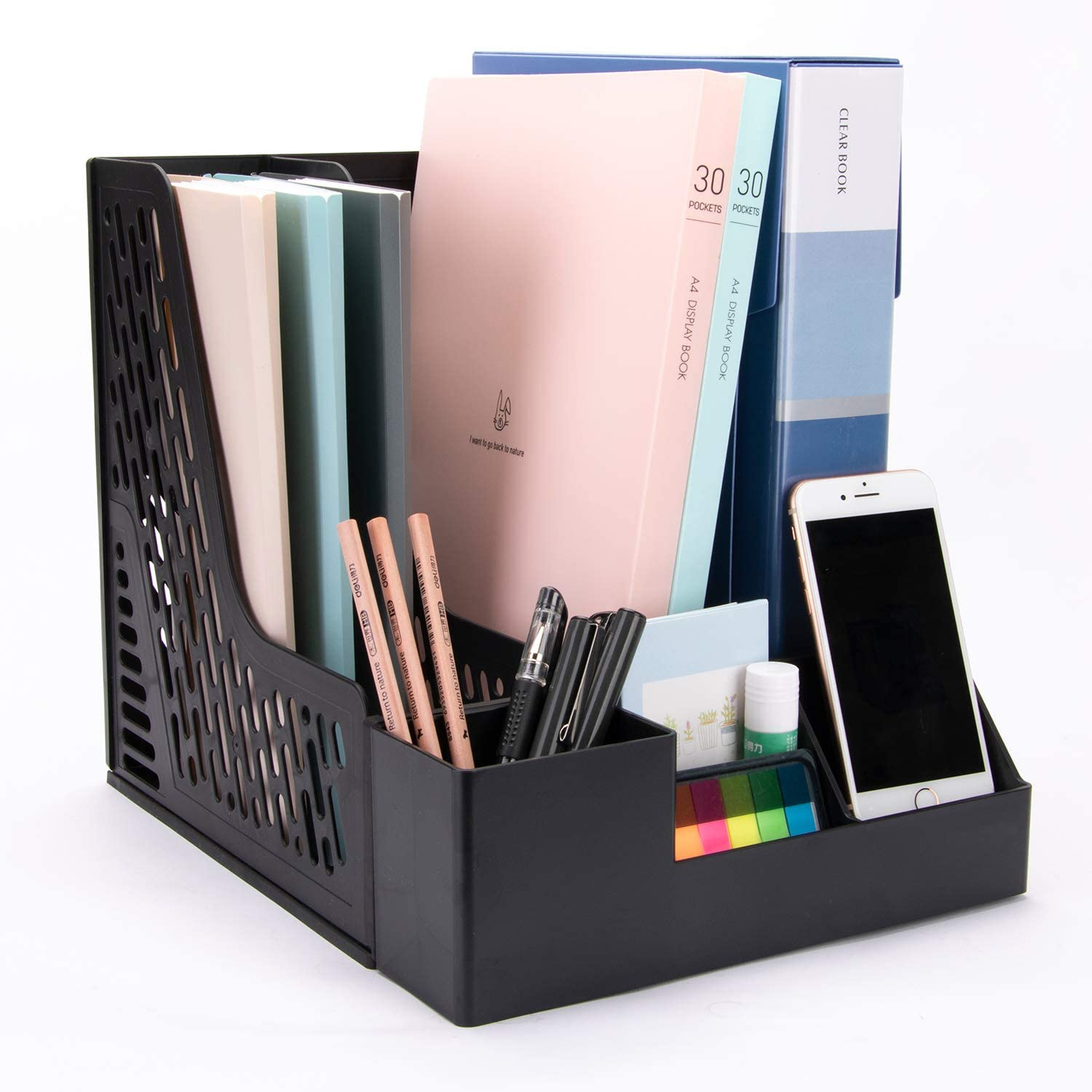 Deli Desk Organizer with Extra Storage Case, Large Space Desktop Magazine File Holder with 3 Vertical Compartments for Office Organization
