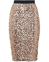 Sequin Midi Skirt in Gold (S-XL) at Amazon Women's Clothing store: