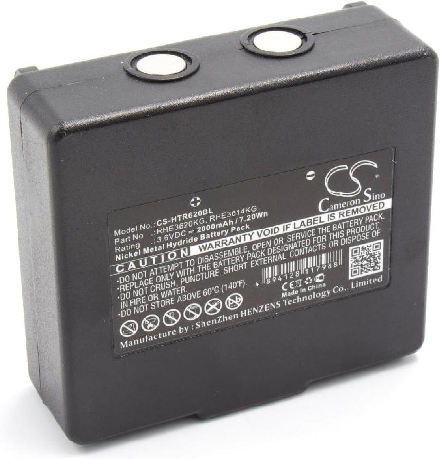 RHE3620KG 3.6V para Mando a Distancia para gr/úas como Hetronic 68300900 Mini EX2-22 HE900 RHE3614KG KH68300990 900 vhbw NiMH bater/ía 2000mAh