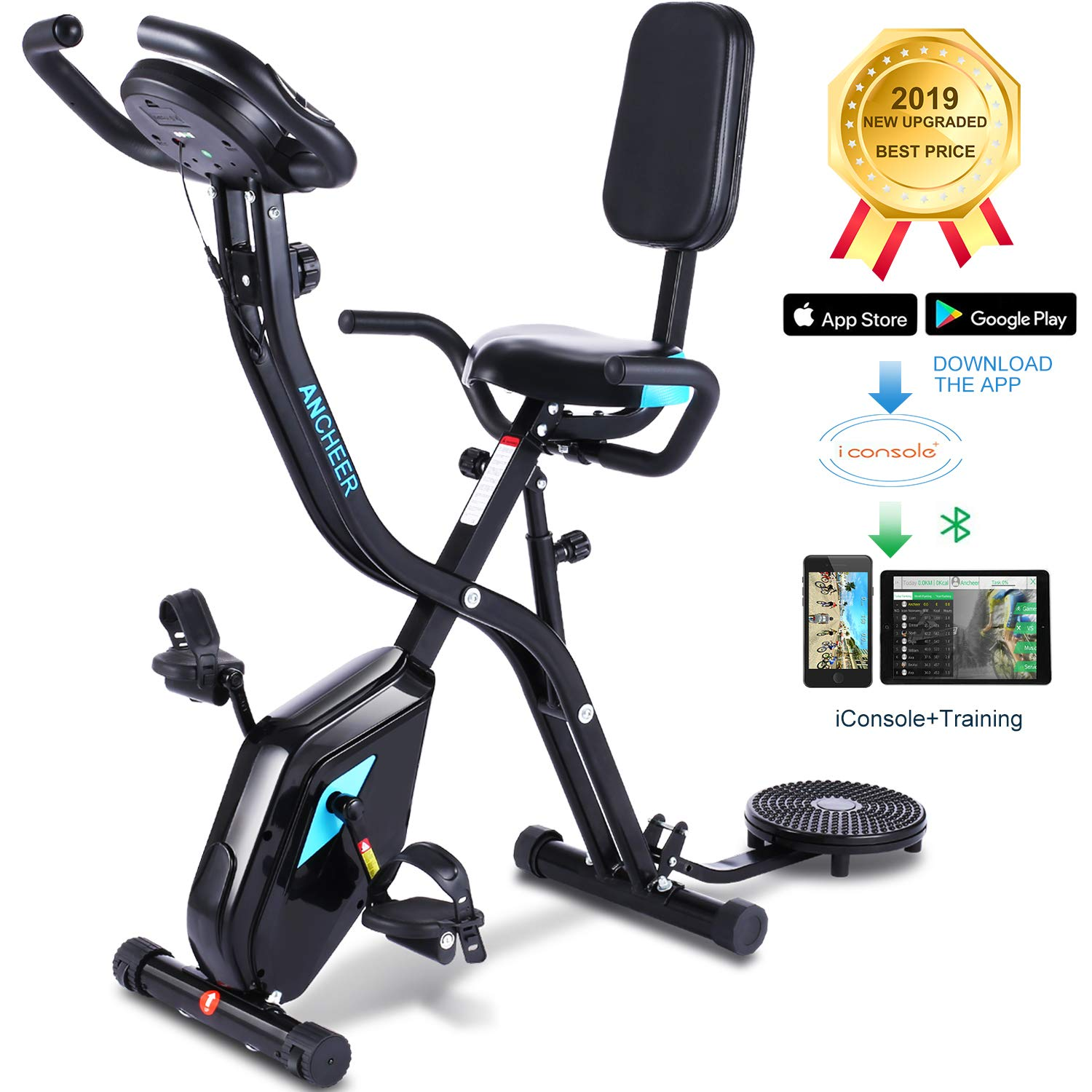ANCHEER Folding Recumbent Exercise Bike,3-in-1 Cycle Indoor Stationary Bike,Workout Bike with 10Level Adjustable Magnetic Resistance APP Program Digital Monitor for Home Total Body Workout.