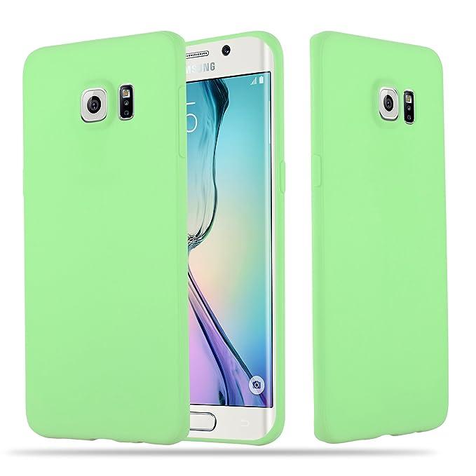 Cadorabo Hülle für Samsung Galaxy S6 Edge - Hülle in Candy Pastell GRÜN – Handyhülle aus TPU Silikon im Candy Design - Siliko