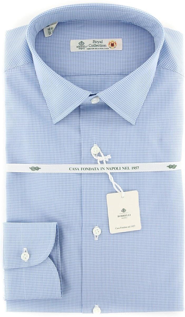 Luigi Borrelli Checkered Button Down Spread Collar Cotton Slim Fit Dress Shirt