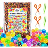 Water Beads with Fine Motor Skills Toy Set, Non-Toxic Water Sensory Toy for Kids Gel Beads with 2 Scoops and Tweezers for Ear